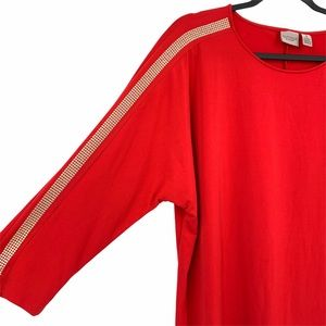 Chico's Red Gold Studded Top XL Stretchy Slinky